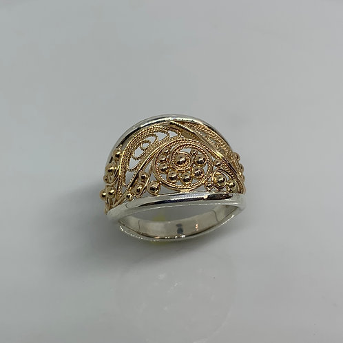 14k Yellow Gold and Sterling Silver Filigree Ring