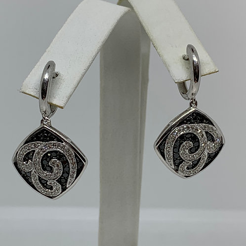 14k White Gold Black and White Diamond Earrings