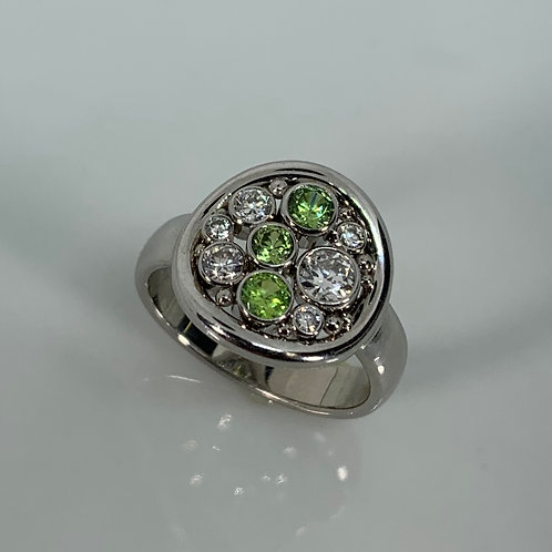 14k Demantoid Garnet and Diamond Ring