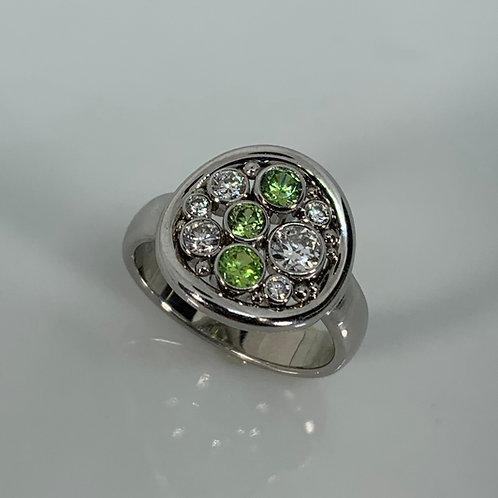 14k Demantoid Garnet and Diamond Ring