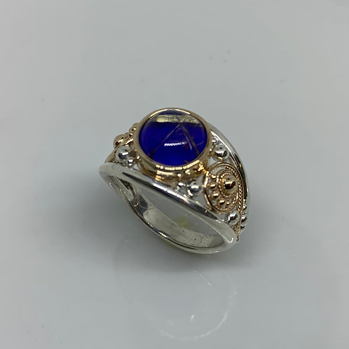 14k Yellow Gold and Sterling Silver Rutilated Quartz Lapis Ring