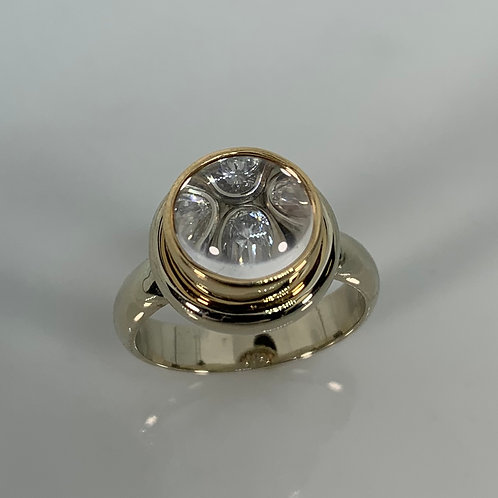 14k White Gold Optic Quartz and Diamond Ring