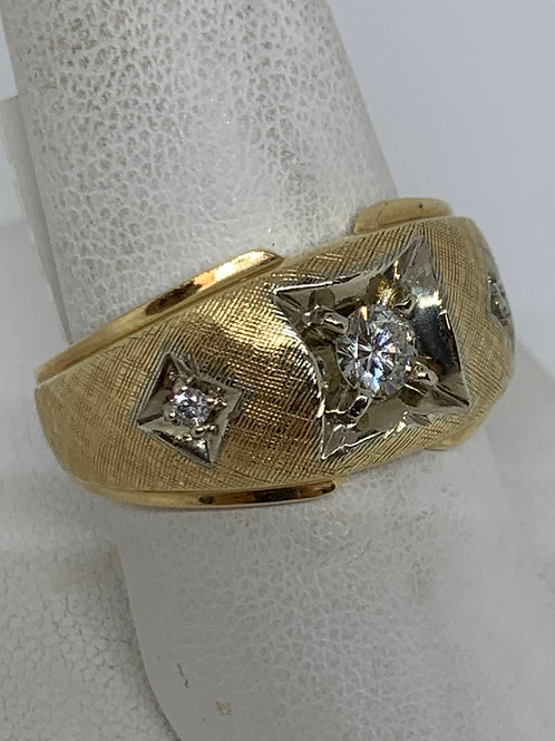 14k White and Yellow Gold Gents Diamond Ring
