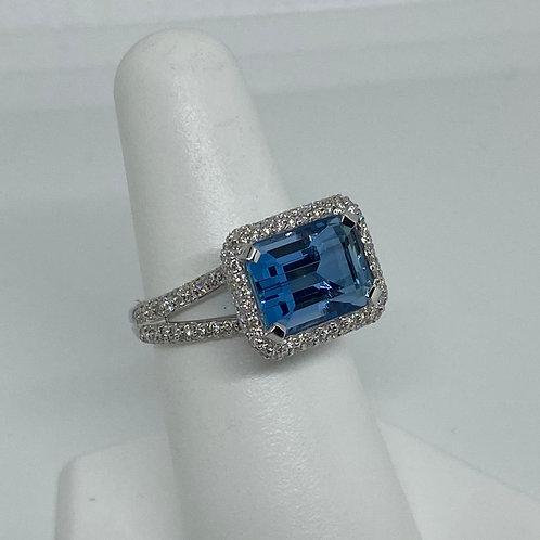 18k White Gold, Aquamarine and Diamond Ring