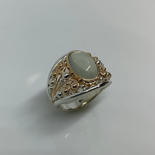 14k Yelow Gold and Sterling Silver Moonstone Ring
