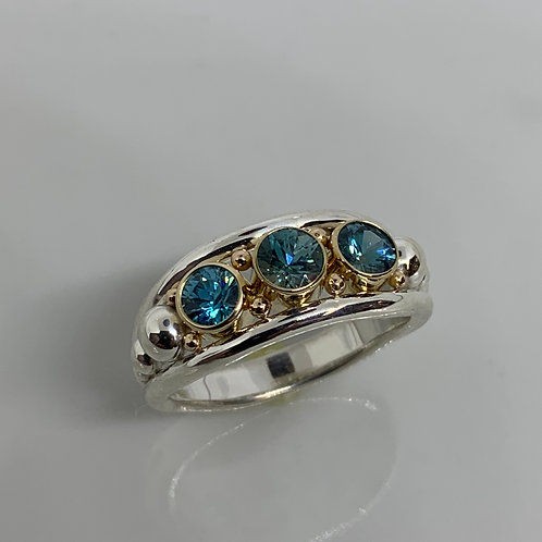 14k Yellow Gold and Sterling Silver Blue Zircon Ring
