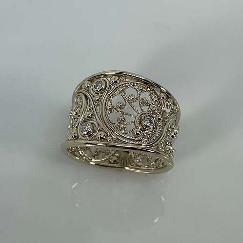 14k White Gold Diamonds Filigree Cigar Band