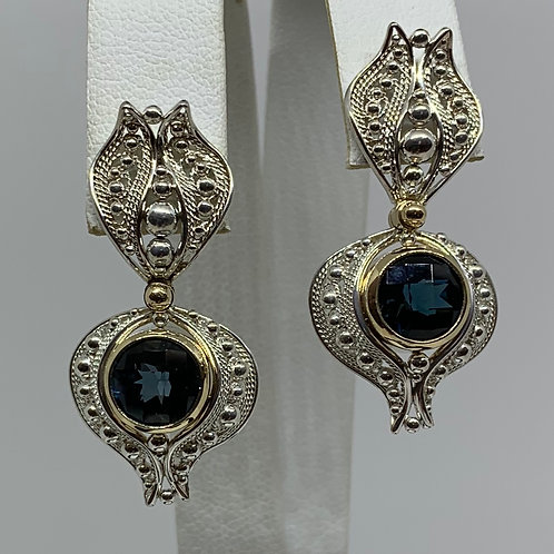 14k Yellow Gold and Sterling Silver Blue Topaz Filigree Earrings
