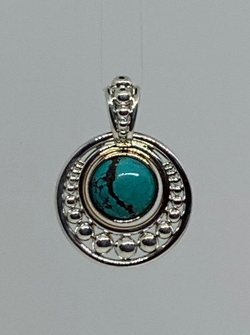 Sterling Silver and 14k Yellow Gold Turquoise Pendant