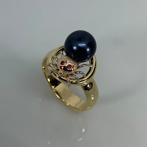 14k Ruby and Pearl Spider Ring