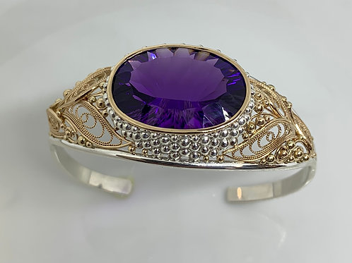14k Yellow Gold and Sterling Silver Amethyst Filigree Cuff Bracelet