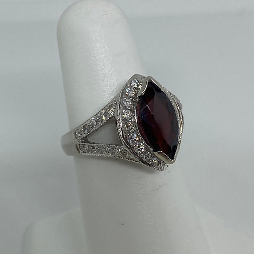 14k White Gold, Garnet and Diamond Ring