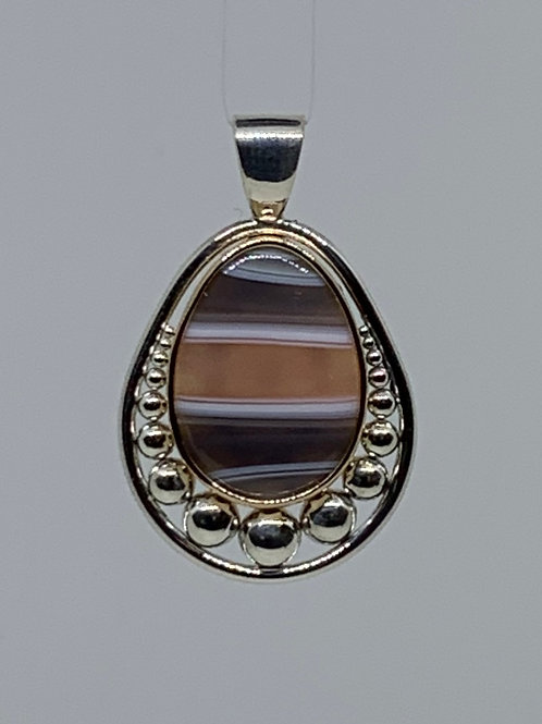 Sterling Silver and 14k Yellow Gold Banded Agate Pendant