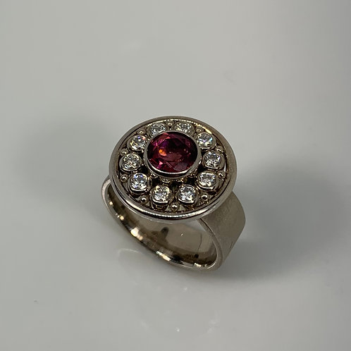 14k White Gold Rubellite Tourmaline and Diamonds Ring