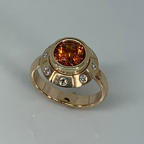 14k Gold Mandarine Garnet and Diamond Ring
