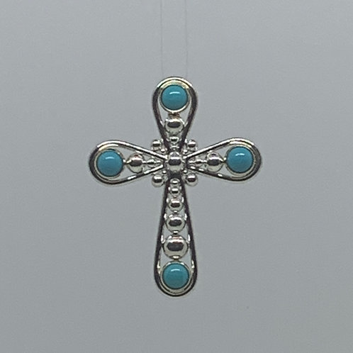 14k Yellow Gold and Sterling Silver Turquoise Cross Pendant