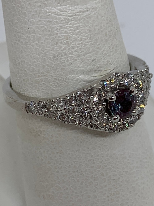 14k White Gold Chatham Alexandrite and Halo Diamond Ring