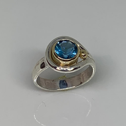Sterling Silver and 14k Yellow Gold Blue Topaz Hook and Eye Ring