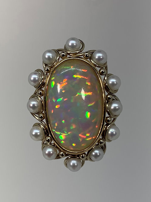 14k Yellow Gold Opal and Pearls Pendant