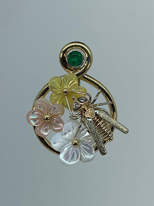 14k Flower Pendant with Emerald Garnet and Bee