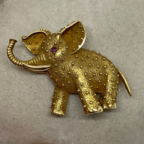 14k Yellow Gold Elephant Brooch with Ruby