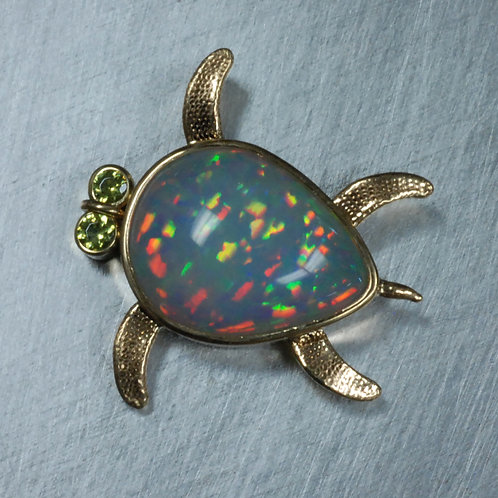 14k Yellow Opal Sea Turtle With Demantoid Garnet Eyes