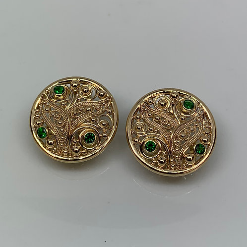 14k Yellow Gold Tsavorite Garnet Filigree Earrings