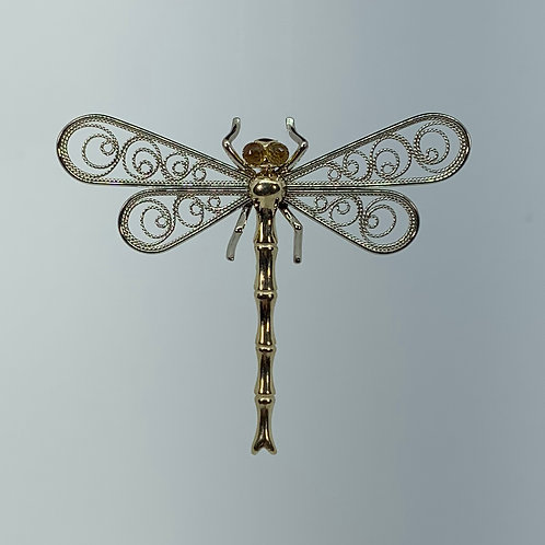 14k Dragonfly Pin with Orange Sapphire Eyes