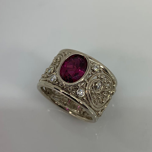 14k Filigree Rubelite Tourmaline and Diamond Ring