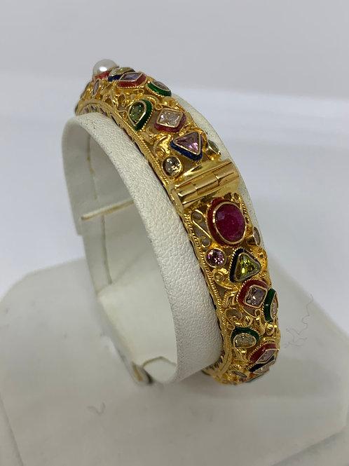 18k Yellow Gold Multi Stone Bangle Bracelet