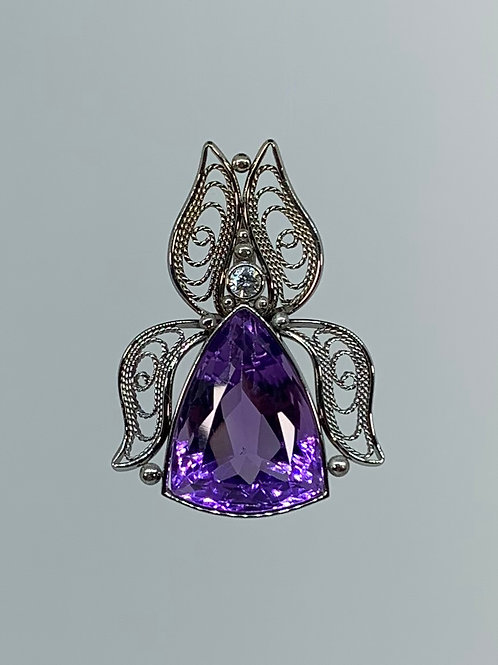 14k Amethyst and Diamond Filigree Pendant