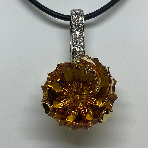 14k Yellow Gold and 14k White Gold Citrine and Diamond Pendant