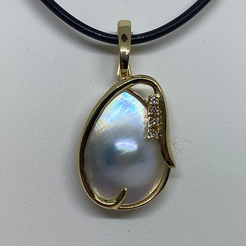 14k Yellow Gold, Pearl and Diamond Pendant