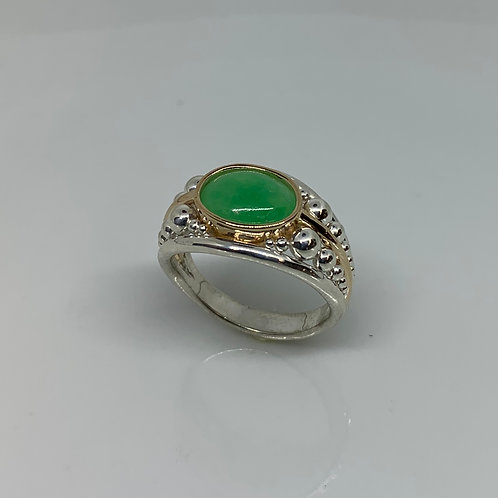 14kYellow Gold and Sterling Silver with Jade Ring