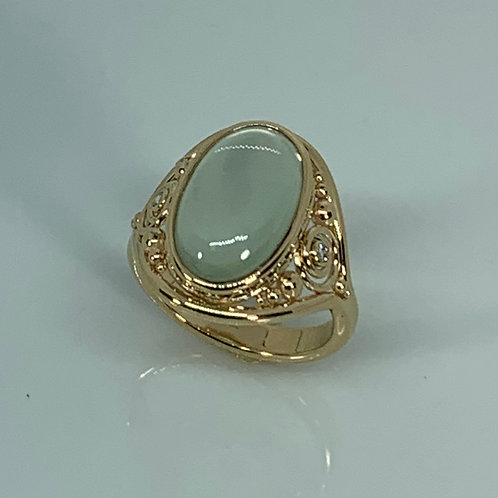 14k Gold Moonstone and Diamond Ring