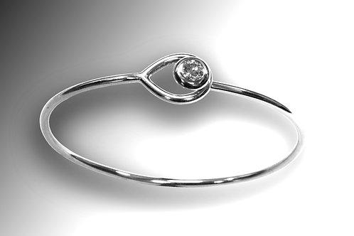 14k White Gold and Diamond Hook and Eye Bracelet