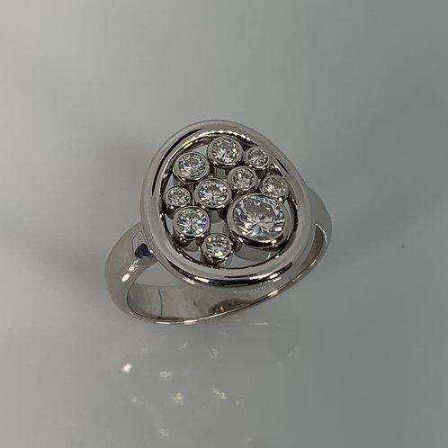 14k White Gold Bubble Ring