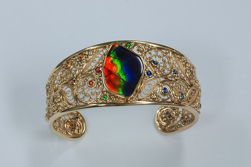 14k Yellow Gold Ammolite with Blue Sapphires, Orange Sapphires, and Ts