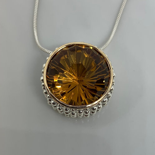 14k Yellow Gold and Sterling Silver Citrine Pendant