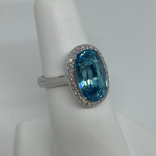 14k White Gold, Blue Zircon and Diamond Ring
