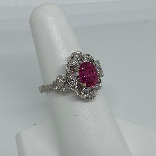 14K White Gold, Pink Spinel and Diamond Ring