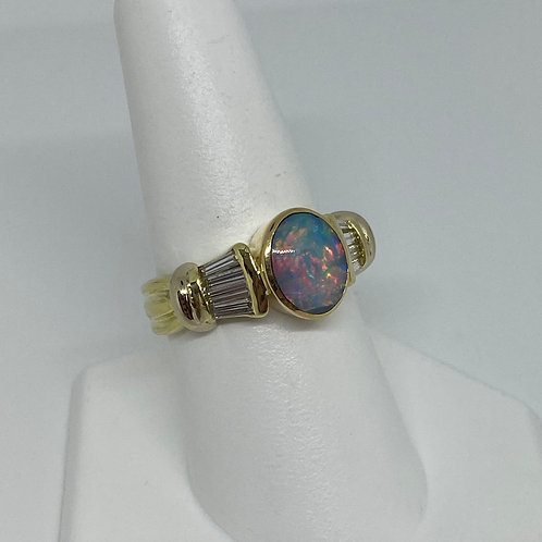 18k Yellow Gold, Opal and Diamond Ring