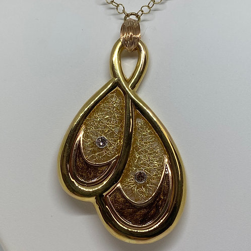 14k Yellow Gold, Diamond and Enamel Necklace