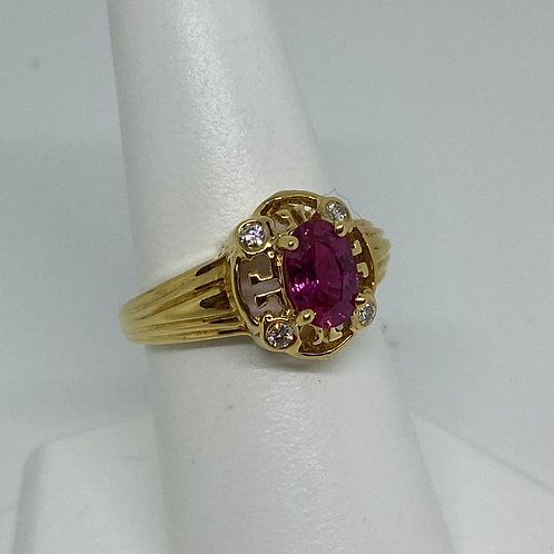 18k Yellow Gold, Pink Tourmaline and Diamond RIng