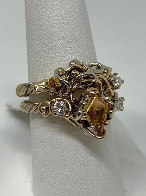 14k Two Toned Gold Yellow and White Diamond Wedding Set