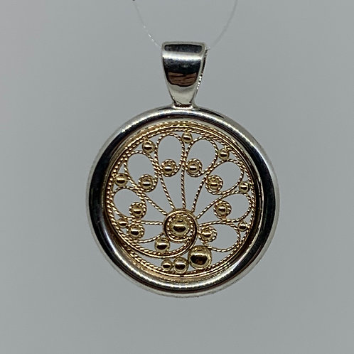 Sterling Silver and 14k Yellow Gold Filigree Pendant