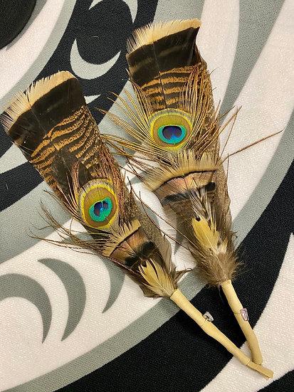 Blue Plume Feather Fan