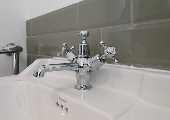 traditional bathroom, sink, green metro tiles