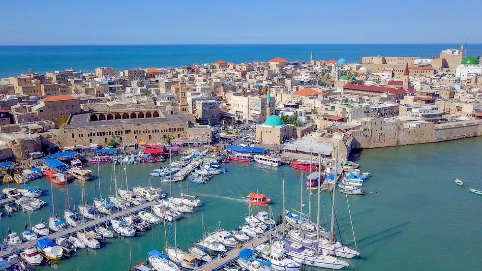 Acre, Israel - Aerial image of the old c