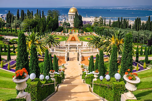 Bahai gardens and temple on the slopes o